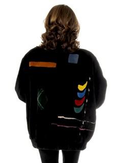 Woman's Zuki Black Sheared Beaver Fur Jacket with Multicolored Geometric Inserts