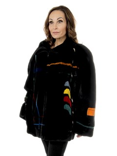 Woman's Zuki Black Sheared Beaver Fur Jacket with Multicolored Geometric Inserts
