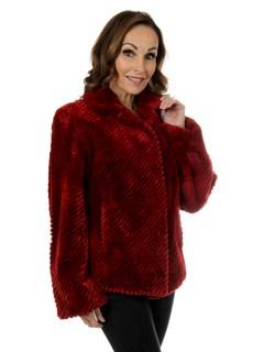 Woman's Jean Crisan Cranberry Red Sheared Beaver Fur Jacket