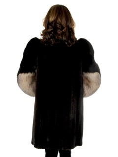 Woman's Mahogany Mink Fur Stroller With Crystal Fox Tuxedo Front And Sleeves