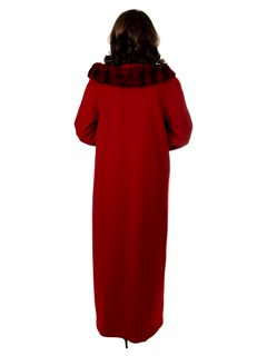 Woman's Red 100% Cashmere Wool Coat with Chinchilla Collar