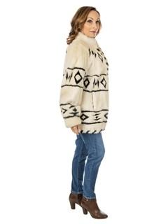 Women's Cream Mink Fur Jacket with Black Mink Inserts