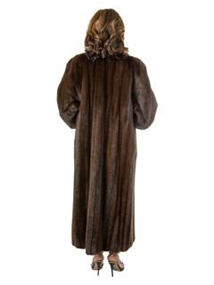 Women's Mahogany Mink Fur Coat Reversible to Rain Taffeta