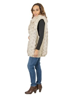 Women's Natural Cross Fox Fur Jacket with Zipout Leather Sleeves