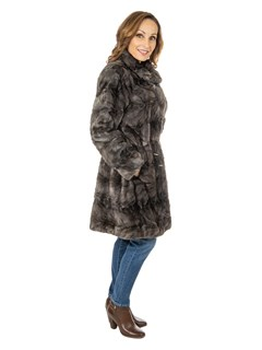 Women's Grey Semisheared and Sectioned Mink Fur Stroller