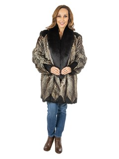 Women's Two-Toned Feathered Fox Fur Stroller