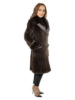 Soulis Women's Brown Sheared Mink Fur Stroller