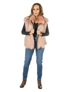 Women's Pink and Black Feathered Fox Fur Vest