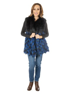 Women's Black and Blue Feathered Fox Fur Vest