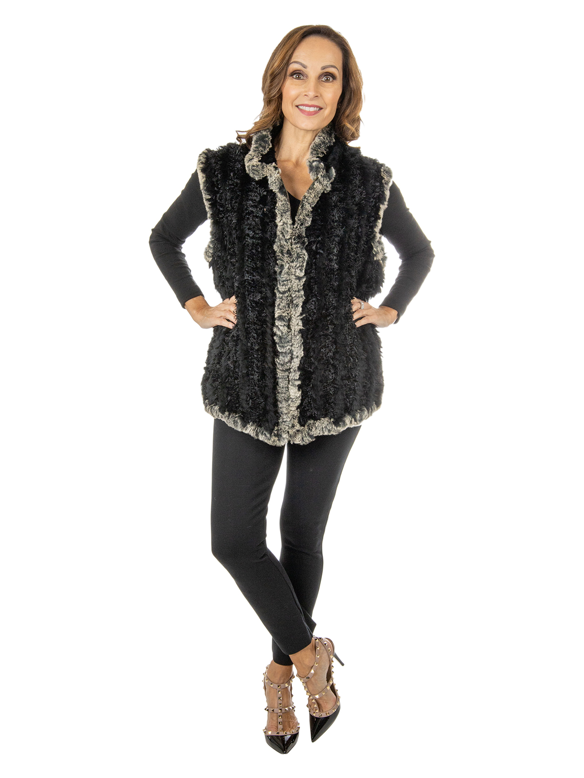 Women's Black and Grey Rex Rabbit Fur Vest
