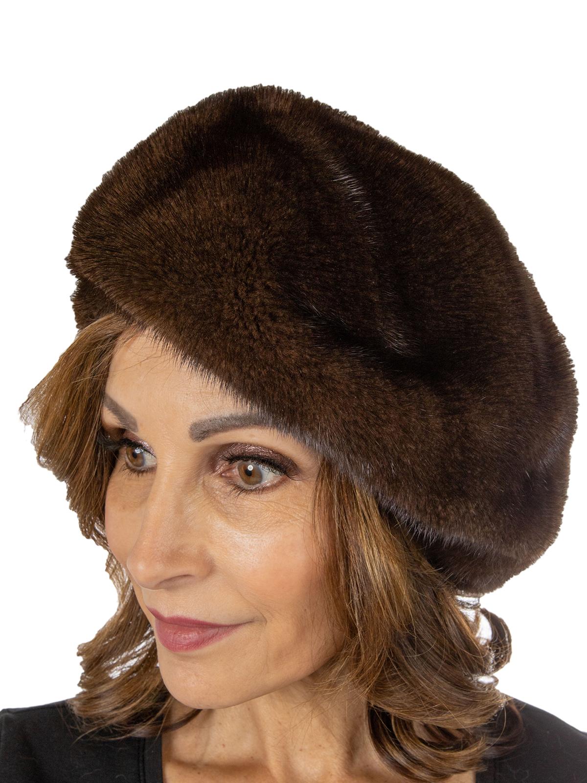 Women's Mahogany Mink Fur Hat