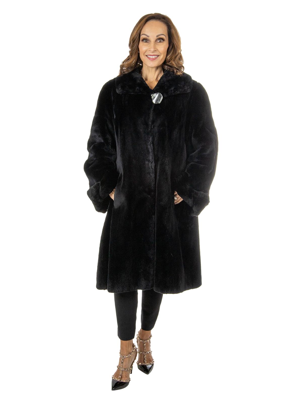 Women's Black Sheared Beaver Fur 3/4 Coat