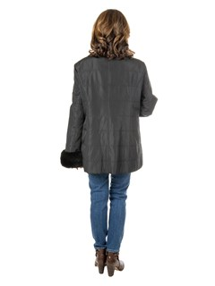 Women's Black Quilted Cloth Jacket with Zipout Rex Rabbit Liner