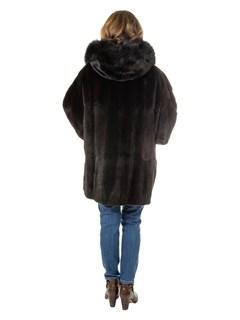Women's Plus Size Dark Brown Sheared Mink Fur Parka Reversing to Black Leather