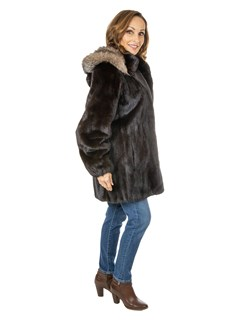 Woman's Ranch Mink Fur Stroller with Detachable Fox Trimmed Hood