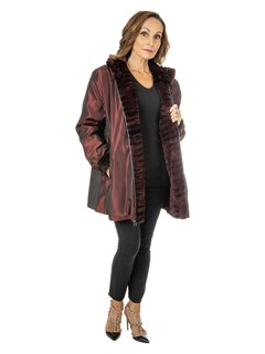 Woman's Burgundy and Black Sheared and Grooved Mink Fur Jacket