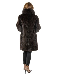 Woman's Dark Brown Sculptured Sheared Mink Fur Stroller with Fox Tuxedo Front