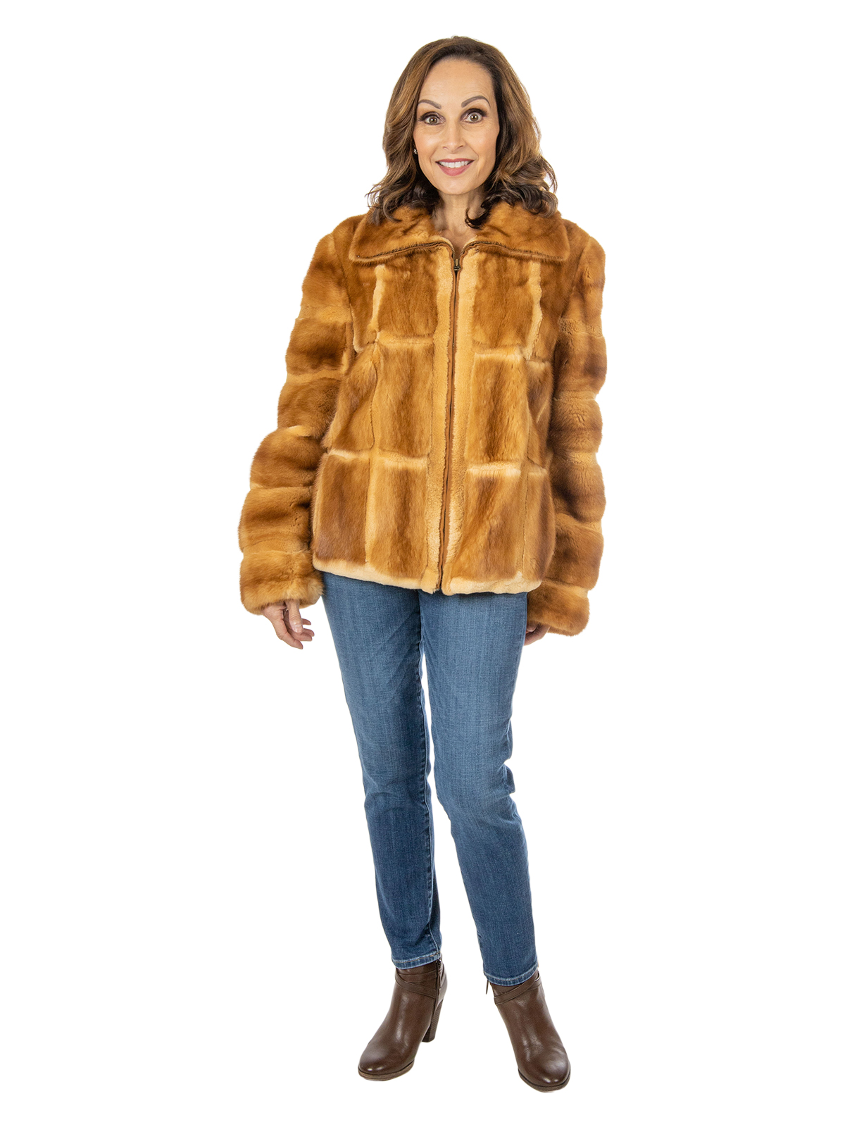 Woman's Whiskey Mink Fur Jacket with Sheared Mink Detail