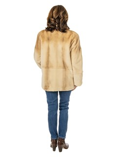 Woman's Beige Sheared Mink Fur Jacket