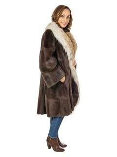 Woman's Natural Sheared Muskrat 3/4 Fur Coat with Canadian Lynx Trim