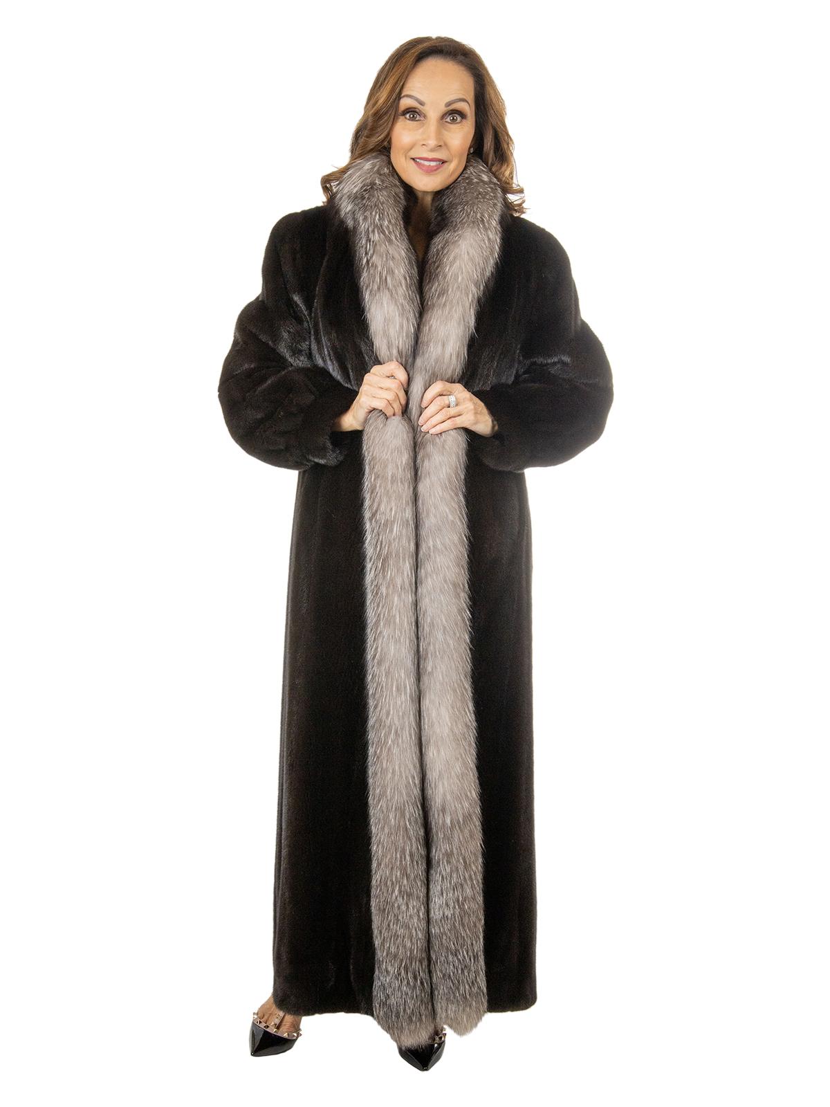 Woman's Ranch Mink Fur Coat with Indigo Fox Tuxedo Front