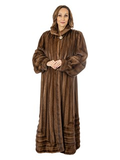 Woman's Demi Buff Female Mink Fur Coat with Directional Body