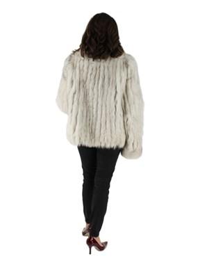 Cord Cut Blue Fox Fur Jacket