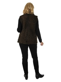 Woman's Brown Persian Lamb and Leather Vest