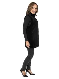 Gorski Woman's Black Sheared Mink Fur Vest