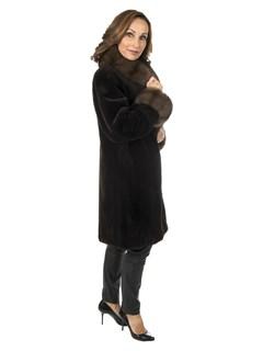Woman's Dark Brown Sheared Mink Fur Stroller