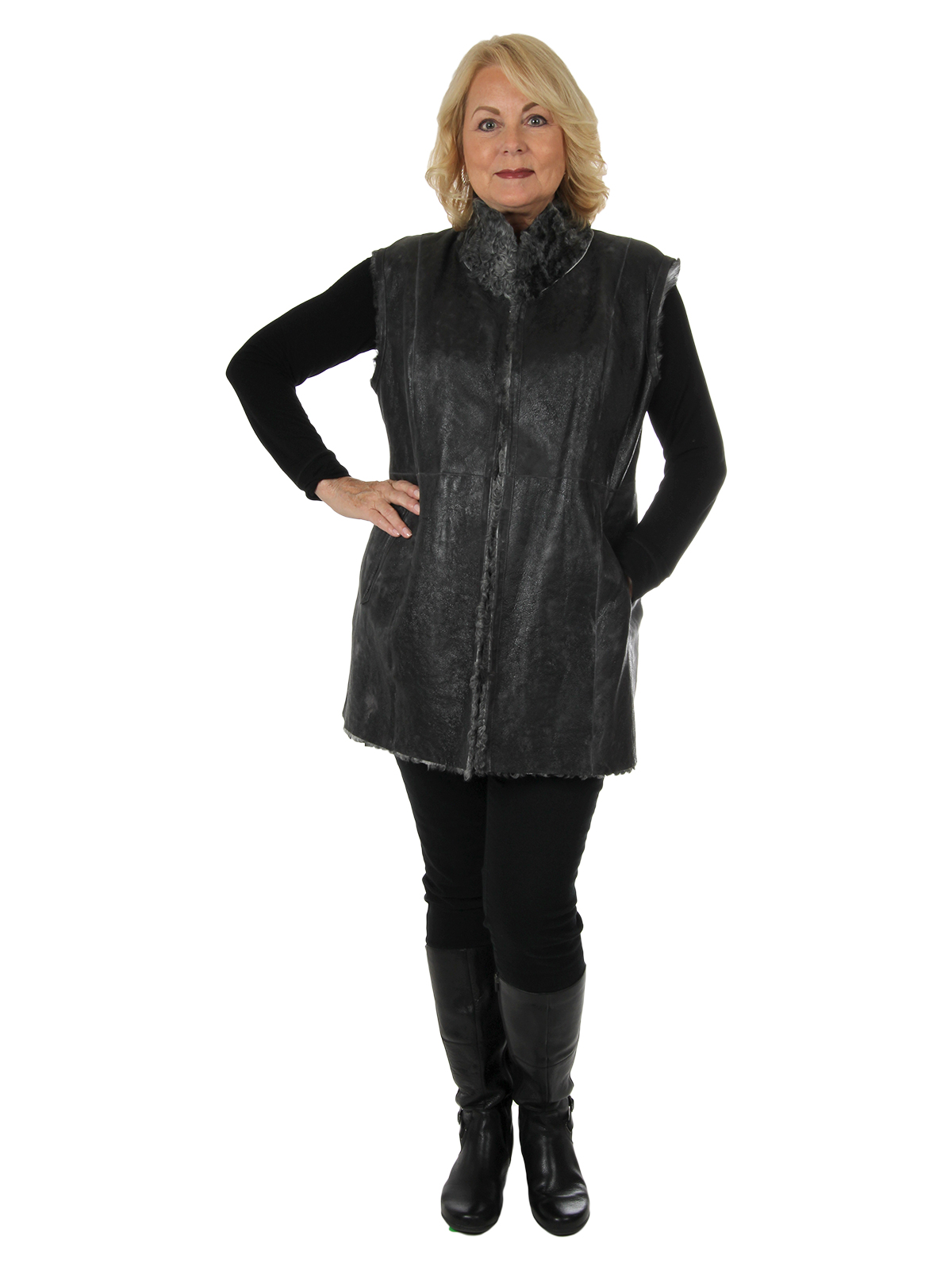 Woman's Grey Persian Lamb Vest Reversible to Grey Distressed Leather