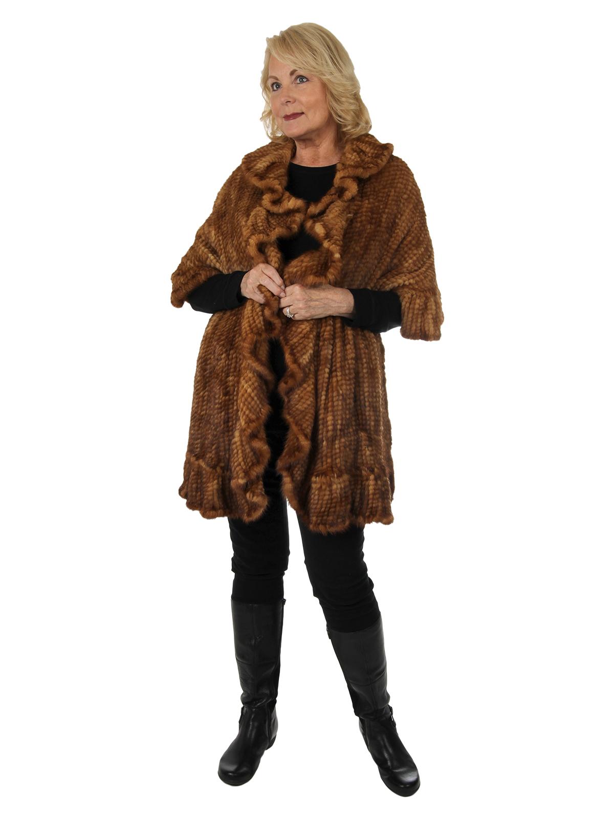 Woman's Whiskey Knit Mink Fur Shawl