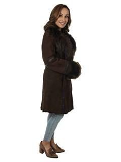 Woman's Rizal Brown Shearling Fur Stroller