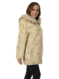 Woman's Bleached Mahogany Sheared and Sculptured Mink Fur Parka