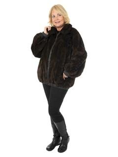 Women's Plus Sized Mahogany Semi Sheared Sculptured Mink Fur Jacket Reversing to Leather