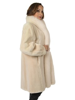 Woman's Cashmere Sheared Beaver Fur Stroller with Fox Tuxedo Front