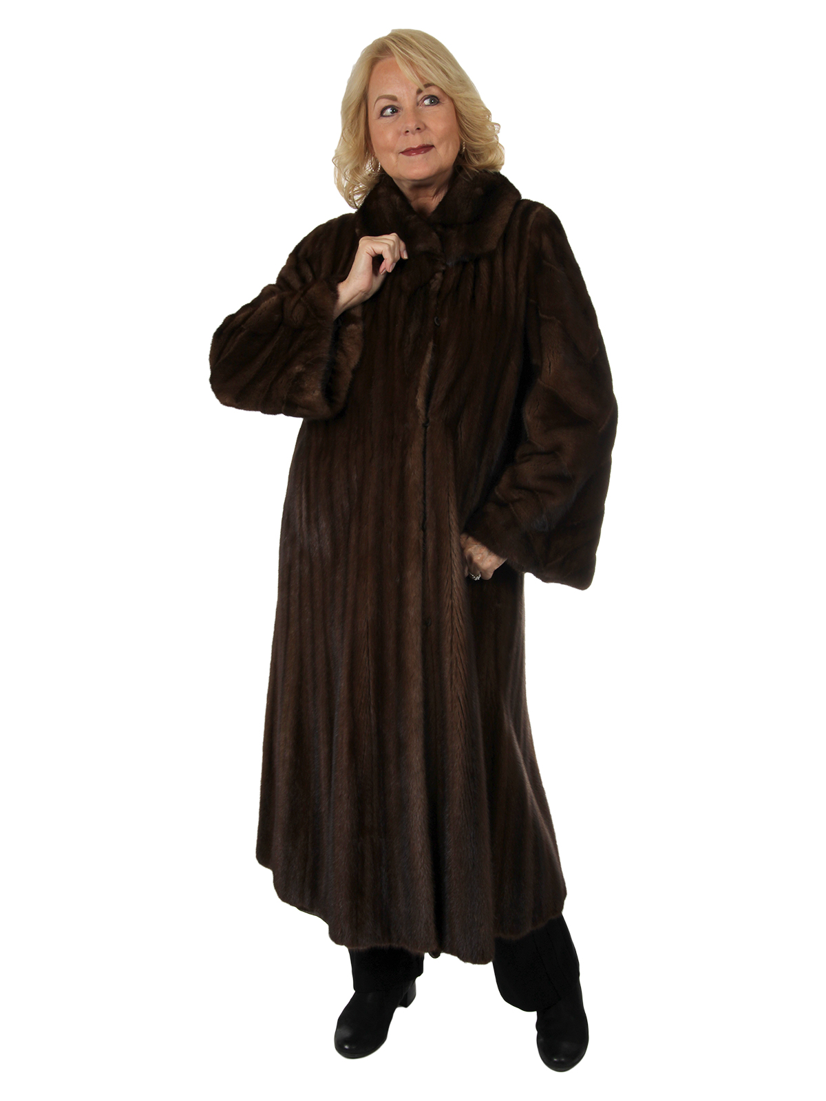 Woman's Demi Buff Female Mink Fur Coat with Large Sweep