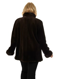 Woman's Dark Brown Sheared Mink Fur Jacket Reversing to Brown Rain Taffeta