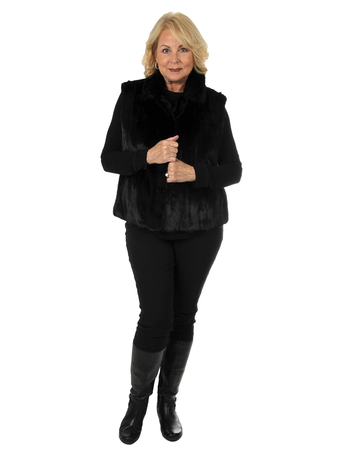 Woman's Ranch Mink Fur Vest Reverses to Leather