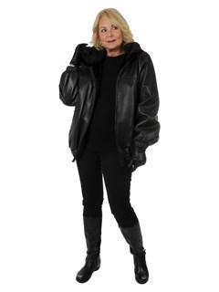 Unisex Black Plucked Mink Fur Jacket Reverses to Leather