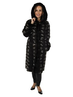 Woman's Black Grey and White Rex Rabbit 3/4 Coat with Hood Reversible to Rain Fabric