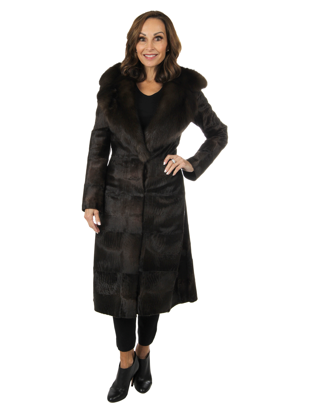 Woman's Dennis Basso Brown Broadtail Lamb Fur Coat with Sable Collar