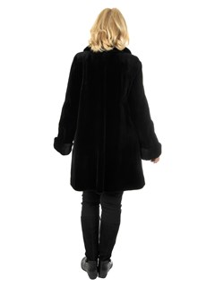Woman's Black Sheared Mink Fur Swing Stroller