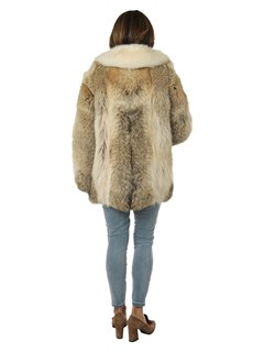 Woman's Coyote Fur Jacket with Shadow Fox Tuxedo Front and Collar