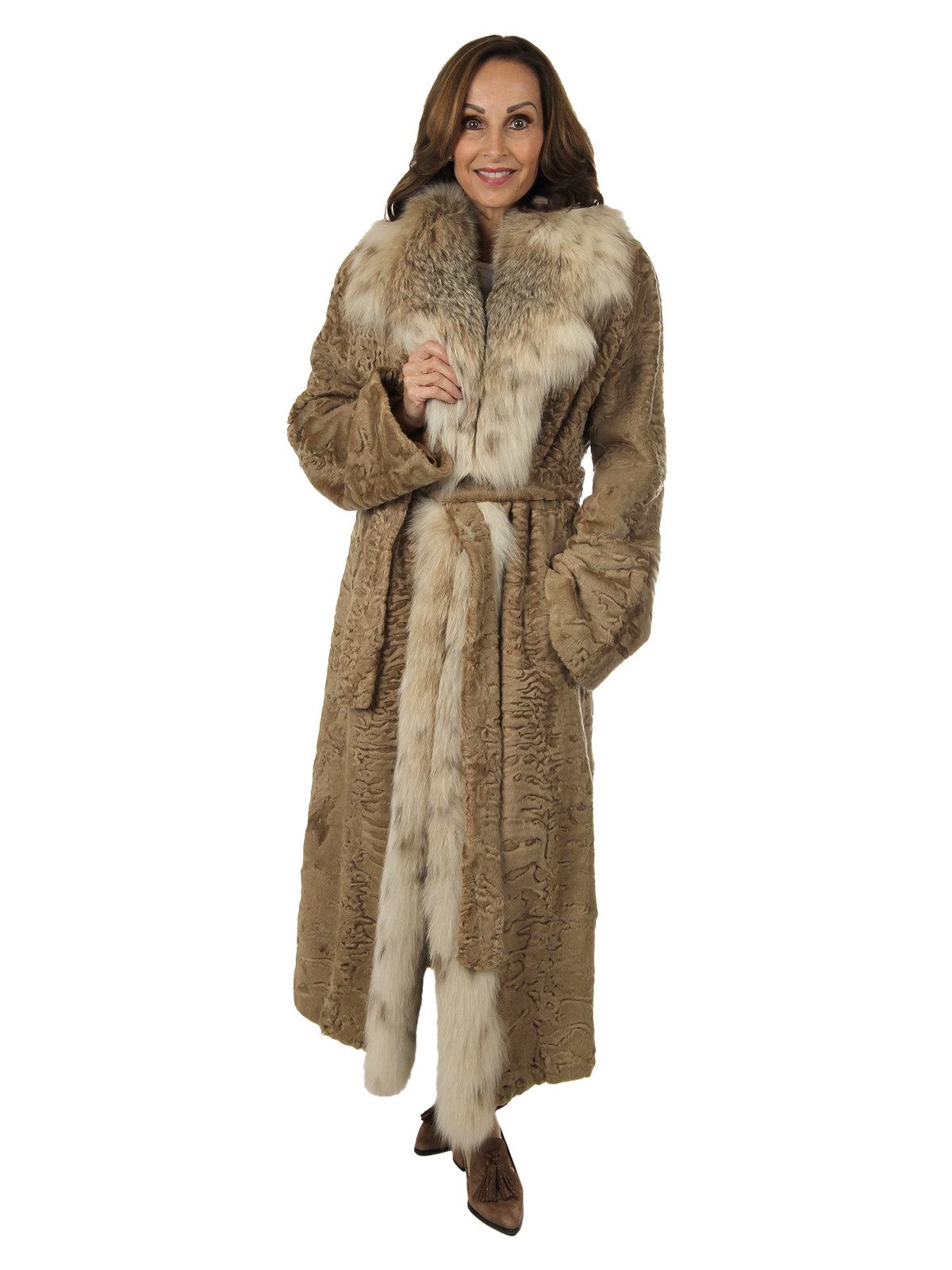 Woman's Beige Swakara Lamb Coat with Canadian Lynx Collar and Front with Detachable Belt