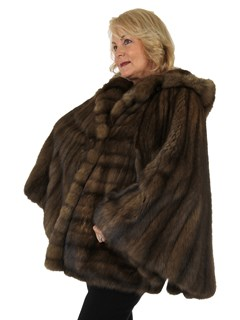 Woman's Russian Sable Fur Cape with Hood