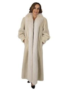Woman's Blush Sheared Fur Coat with Fox Tuxedo Front