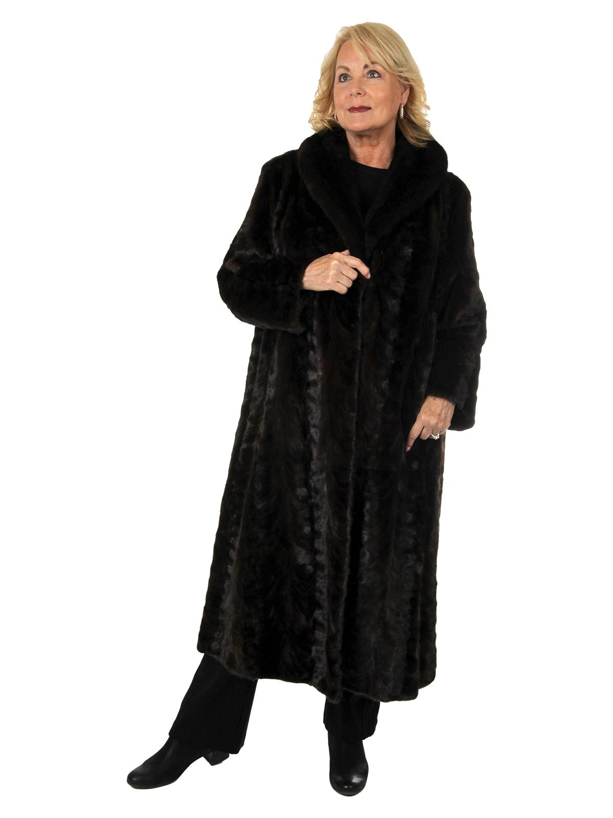 Woman's Deep Mahogany Sectioned Mink Fur Coat