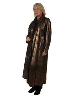 Woman's Bronze Leather Coat with Snake Skin Finish