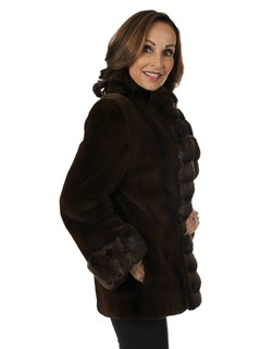 Woman's Brown Degrade Sheared Mink Fur Jacket with Chinchilla